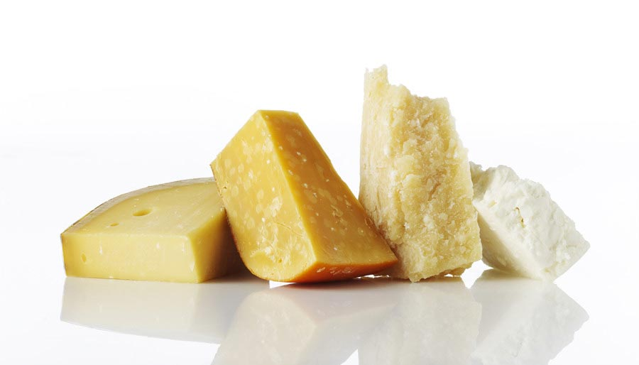 Mix of cheese types