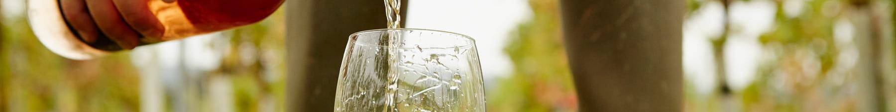 一名男士将葡萄酒倒入杯中